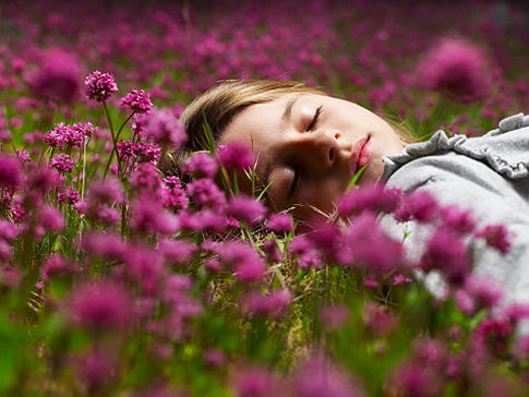 Girl laying in a field of purple wildflowers.   Original Filename: 87845186.jpg